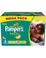 Pampers - Baby Dry - Couches Taille 5 Junior (11-25 kg) Format Mégapack x80 couches