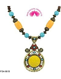 Reiki Crystal Products Feng Shui Beautiful Beaded Designer Fashion Jewellery Faceted Yellow Necklace For Women