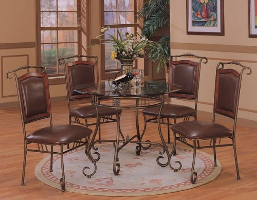 Cheap 5pc Dark Distress Gold Metal Dining Table w/Glass Top & Chairs Set (VF_dinset-120151-120152)