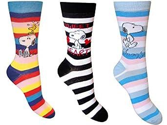 Ladies Womens Snoopy Socks 3 Pairs Novelty Socks