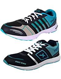 BRUTON COMBO Pack Of 2 Pair Of Shoes Black & Blue (Sport Shoes & Running Shoes)