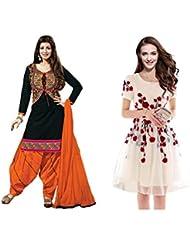 Sky Global Women's Regular Wear Dress Material And Kurti (Combo Pack Of 2)(SKY_DK_9034)(SKY_547_Black)(SKY_7006...