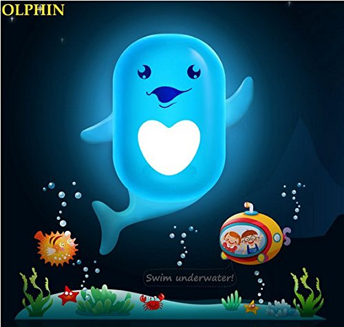TPCROMEER Kids LED Night Light Lamp 3D DIY Wall Stickers Cartoon Cute Wallpapers With Sensor Plug-in Wall Auto Turn On/Off for House Bedroom Decoration - Energy Saving Light Source (Little Dolphin)