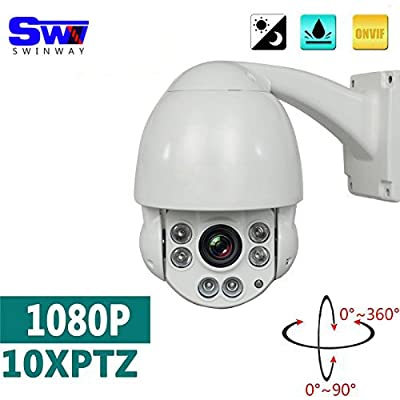 1080P 4.5 inch HD Outdoor IP PTZ Camera with 10X Optical Dome Zoom Camera High Speed Pan Tilt Zoom Camera Support ONVIF P2P Night Vision 230ft(70m) from Shenzhen SUMWIN e-commerce co.,ltd