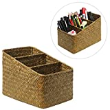 Decorative Tan Hand Woven 3 Compartment Home Organizer Basket / Desktop Storage Holder Container