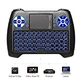 (2019 Latest, Backlit) ANEWISH 2.4GHz Mini Wireless Keyboard with Touchpad Mouse Combo, Rechargable Li-Ion Battery & Multi-Media Handheld Remote for Google Android TV Box, PS3, PC, Pad (Color: T16-blue backlit, Tamaño: Keyboard)