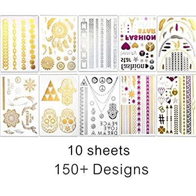 BohoTats Flash Metallic Temporary Tattoos - Set of 10 Sheets,150+ Intricate Designs Removable Waterproof Bling Bling stickers, High Gloss Shimmer Effect (silver pink gold )
