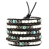 Dyed Colored Freshwater Cultured Pearls Wrap Around Leather Bracelet (Simulated Hematite)