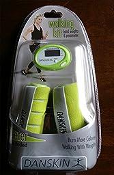 Danskin Walking Kit - Hand Weights & Pedometer (Lime Green)