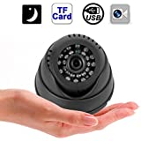 Indoor DVR Dome CCTV Security Camera Micro SD/TF Card Night Vision Recorder, Complete Video Monitoring System with Video Recording Plug and Play Circulating Storage
