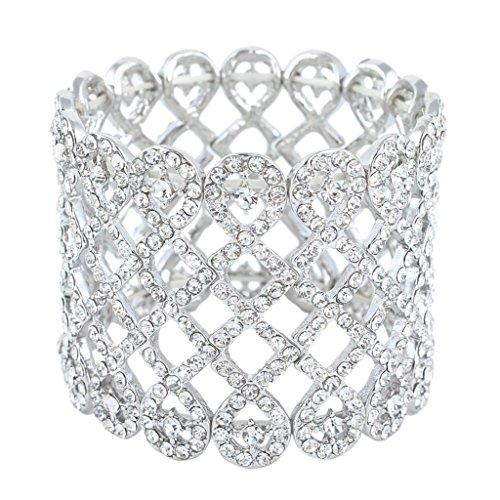 EVER-FAITH-Art-Deco-Love-Knot-Wide-Stretch-Bridal-Bracelet-Clear-Austrian-Crystal