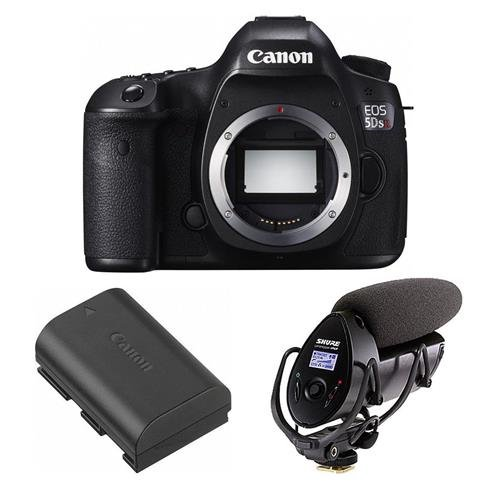Canon-5DS-R-DSLR-Camera-Body-506MP-Bundle-With-Shure-VP83F-LensHopper-Camera-MountShotgun-Microphone-Canon-LP-E6-N-Lithium-Ion-Battery-Pack