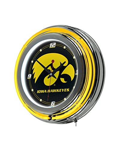 Trademark Global University of Iowa Neon Clock