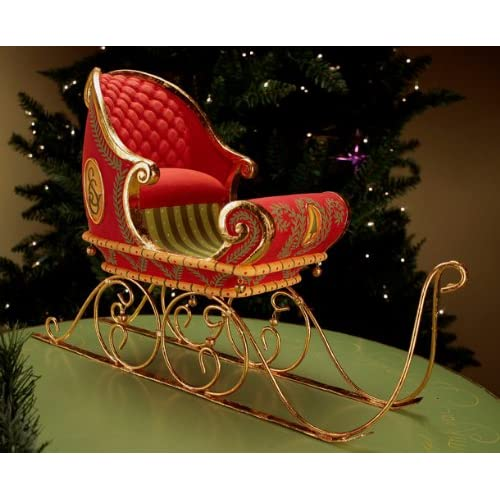 Patience Brewster Krinkles Large Dashaway Santa Claus Sleigh Christmas Decor