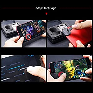 PRUGNA Mobile Joystick, Phone Game Rocker [Including Phone Ring Holder] for iPhone/Smart Phones, Touch Screen Joypad for Android/iOS (Color: Red)