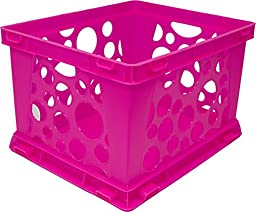 Storex Large Storage and Transport File Crate, 17.25 x 14.25 x 10.5 Inches, Neon Pink, Case of 3 (STX61579U03C)