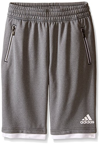 adidas Big Boys French Terry Streetball Short, Black/White, Medium