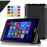 IVSO Slim Smart Cover Housse pour ASUS VivoTab 8 M81C (2014 Version)Tablette avec Fonction Sommeil/Réveil Automatique (Noir)