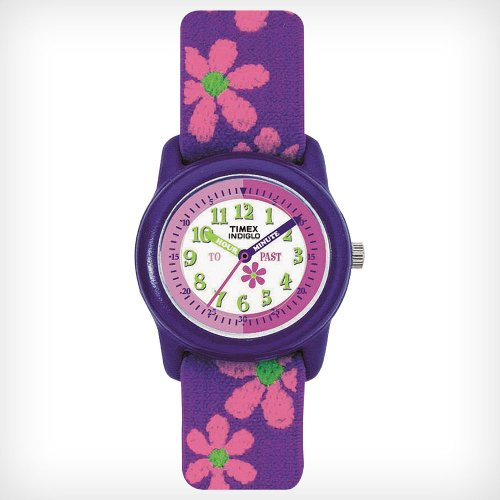 Timex Kids' T89022 Time Teacher Analog Flowers Elastic Fabric Strap Watch front-795619