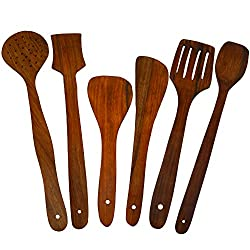 ITOS365 Handmade Wooden Serving and Cooking Spoon Kitchen Utensil Set of 6