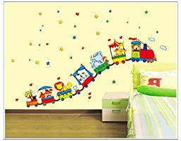 The Real Peel Premium Removable Wall Stickers for Kids Rooms, Nursery, Baby, Boys & Girls Bedroom - Peel & Stick, Large Removable Vinyl Wall Decal Stickers (Happy Train)