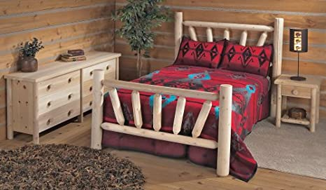 Rustic Cedar Log Style Bed w Sunburst Design on Head & Footboard (King)