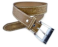 Moda Di Raza-Men's Hand-Etched Leather Belt- Tan/S