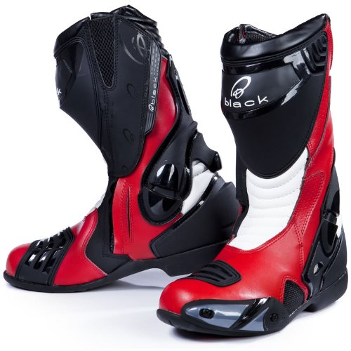 Black Venom Motorcycle Boots 41 Red (UK7)