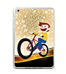 Boy on a Cycle 2D Hard Polycarbonate Designer Back Case Cover for Apple iPad Mini 4 :: Apple iPad Mini 2 :: Apple iPad Mini 2 Wi-Fi + Cellular :: Apple iPad Mini 3 :: Apple iPad Mini 3 Wi-Fi + Cellular