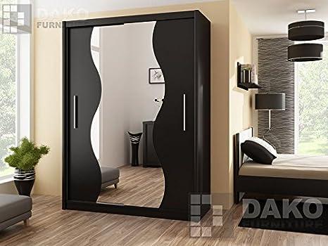 Modern Bedroom Wardrobe Sliding Door Mirror TOKYO 5 Black - 4.9Ft / 150cm Width