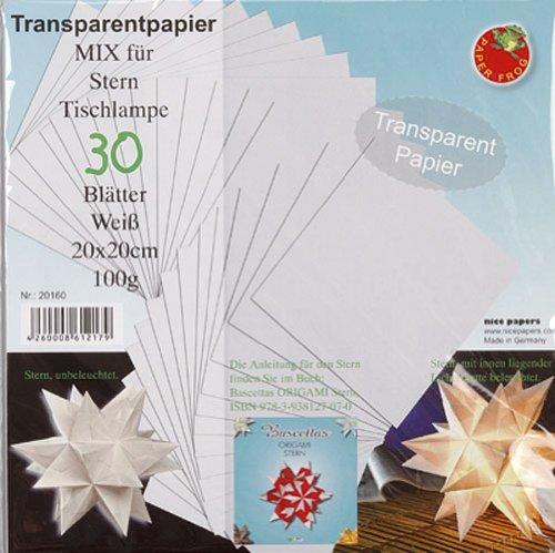 bascetta transparentpapier sterne 20x20 wei. Black Bedroom Furniture Sets. Home Design Ideas