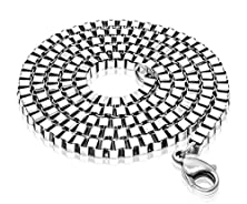 buy Eastop Simple Titanium Steel Titanium Steel Box Chain Necklace For Men And Women Chain 19.68'', 23.6'', 27.56'' ,31.5'' ,35.43'' (23.6 Inches, Item Display Width: 4 Mm)