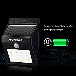 (8 LED) Mpow Solar Powerd Wireless LED Security Motion Sensor Light, Outdoor Wall/garden Lamp / Motion Sensor-Detector Activated / For Patio, Deck, Yard, Garden, Home, Driveway, Stairs, Outside Wall, With Dusk to Dawn Dark Sensing Auto On / Off Function b