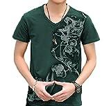 (ペプ) PEPU メンズ Tシャツ 半袖 Vネック 英字 プリント デザイン ファッション トップス シャツ (深緑 L)