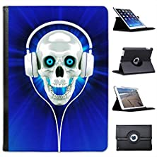 buy Raving Skull With Headphones In Blue For Apple Ipad Air 2013 Version Faux Leather Folio Presenter Case Cover Bag With Stand Capability