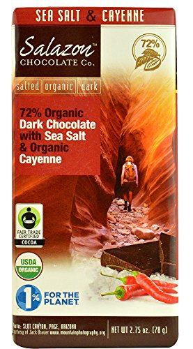 Salazon Chocolate 72% Organic Dark Chocolate with Sea Salt and Organic Cayenne, 2.75 Ounce (Cayenne Chocolate compare prices)