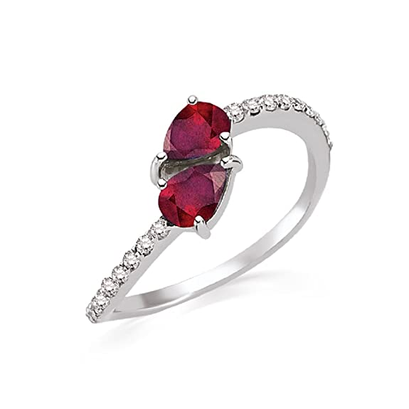 1.20 Carats 18k Solid White Gold Ruby and Diamond Engagement Wedding Bridal Promise Ring Band