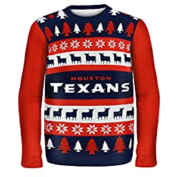 KLEW NFL Houston Texans Wordmark Ugly Sweater, Large, Blue
