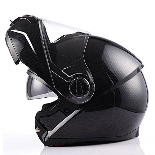 Motorcycle Street Bike Modular/Flip up Dual Visor/Shields Full Face Adult Helmet Carbon Fiber Black (Full Face Carbon Helmet compare prices)