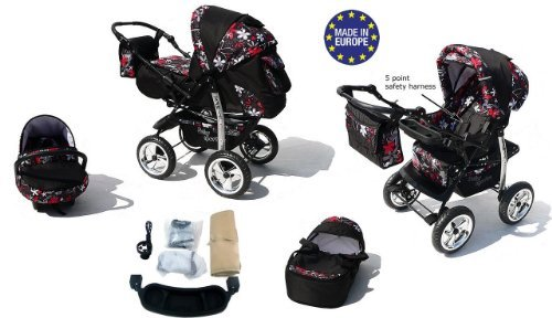 3-in-1 Travel System with Baby Pram, Car Seat, Pushchair & Accessories, Black & Small Flowers