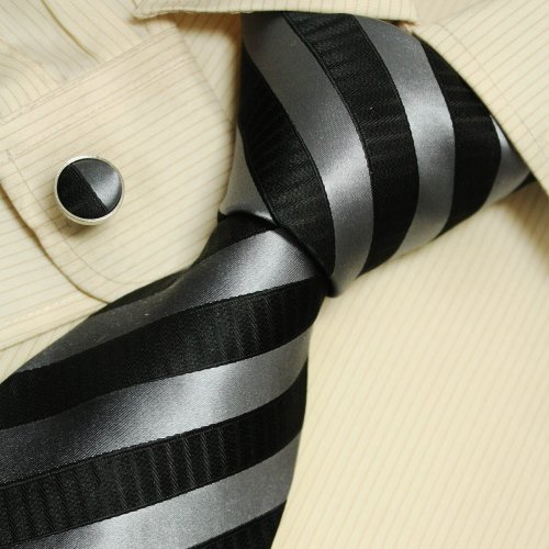 Silver Striped Men Wearing Ties Black Stripes Gift for Dad Discount Silk Neckties Set A1125