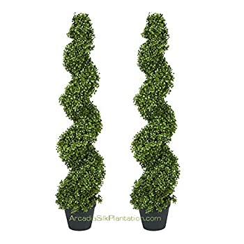 TWO Pre-potted 4 Spiral Boxwood Artificial Topiary Trees. In Plastic Pot