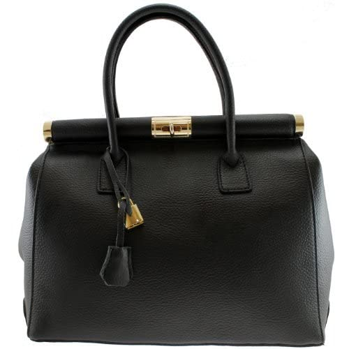 ITALIAN HAND-MADE DESIGNER REAL LEATHER DESIGNER SATCHEL SADDLE HANDBAG TOTE BAG SHOULDER WORK BLACK