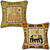 Embroidered Handmade Elephant Designer Indian Cotton Cushion Cover Pillow Cover 17 Inches 2 Pcs - B00JVJCNQ0