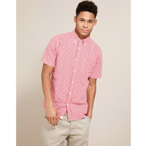 Fabric Gingham Shirt - Red - Mens