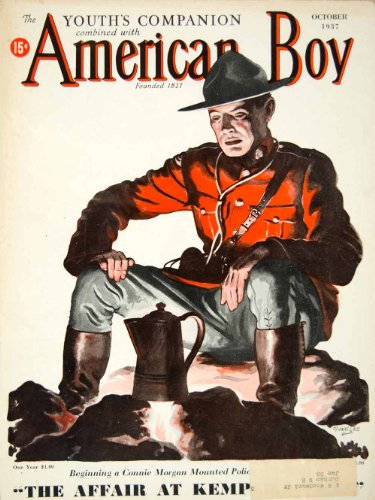 1937 Cover Youths Companion American Boy Manning Dev Lee Art Canadian Mountie - Original Cover