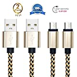 Android Charging Cable,Hankuke [2-Pack] Multi length and color Sturdy Nylon Fabric Braided High Speed Data Sync USB to Micro USB Cable (2m gold)