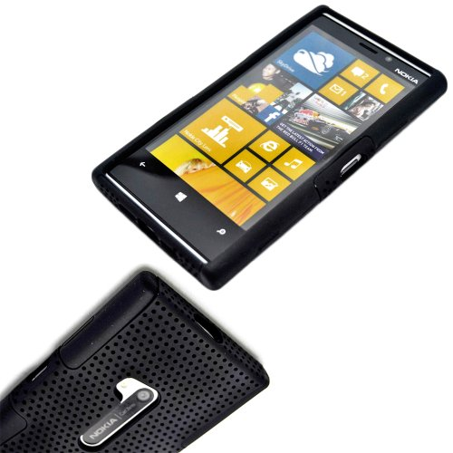 Mylife (Tm) Shocking Black Perforated Mesh Series (2 Layer Neo Hybrid) Slim Armor Case For The Nokia Lumia 920, 920.2, 920T And 920 4G Camera Smartphone By Microsoft (External Rubberized Hard Shell Mesh Piece + Internal Soft Silicone Flexible Gel)