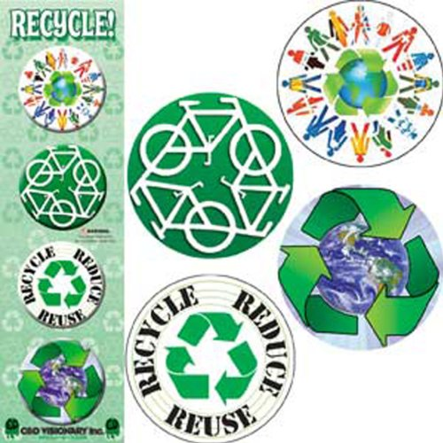 "Licenses Products Recycle Assorted Artworks 1.25"" Button Set, 4-Piece"
