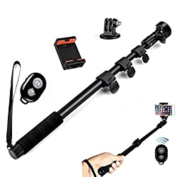 Amababa(TM)48 Inch High Grade Heavy Duty Extendable Handheld Monopod Selfie Stick+Tripod Mount Adapter+Mobile Phone Tripod Mount Adapter Bundle+Bluetooth Remote Camera Shutter Release Control for GoPro Hero 1/2/3/3+ Digital Camera and Cellphone(Up to 85mm Width)
